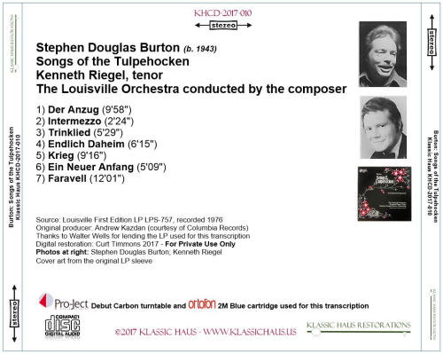 First Additional product image for - Stephen Douglas Burton: Songs of the Tulpehocken - Kenneth Riegel, tenor - Louisville SO/Burton