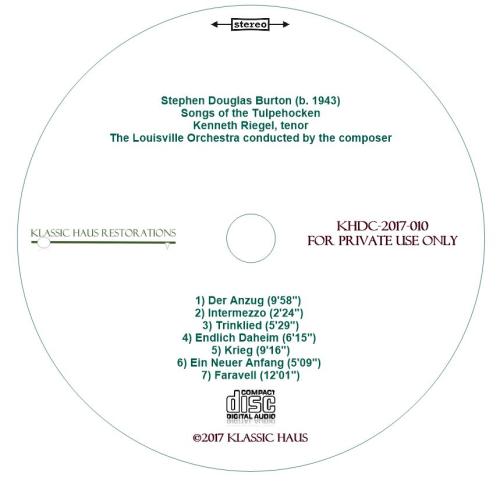 Second Additional product image for - Stephen Douglas Burton: Songs of the Tulpehocken - Kenneth Riegel, tenor - Louisville SO/Burton