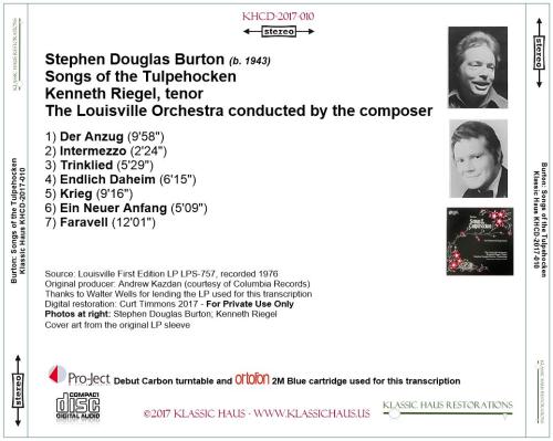 First Additional product image for - Stephen Douglas Burton: Songs of the Tulpehocken - Kenneth Riegel, tenor - Louisville SO/Burton