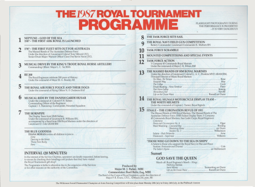 Second Additional product image for - 1987 Royal Tournament Program of Events