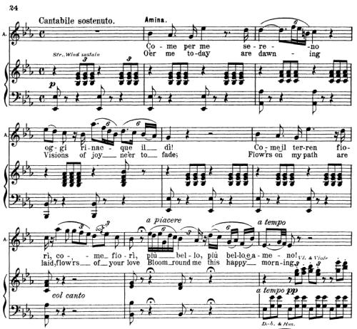 First Additional product image for - Compagne...Come per me serena. Aria for Soprano (Amina). V. Bellini: La Sonnambula, Vocal Score. Ed. Schirmer (1902). Italian/English