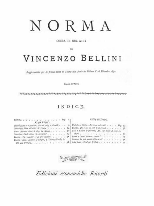 First Additional product image for - Casta diva... Fine al rito. Aria for Soprano (Norma). V. Bellini: Norma, Vocal Score, Ed. Ricordi (PD). Italian.