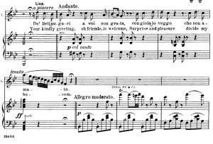 de' lieti auguri a voi. aria for soprano (lisa). v. bellini: la sonnambula, vocal score, ed. schirmer (1902). italian/english