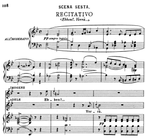ebben...verrà. recitative for soprano (imogene). v. bellini: il pirata,  vocal score, ed. ricordi (pd). italian