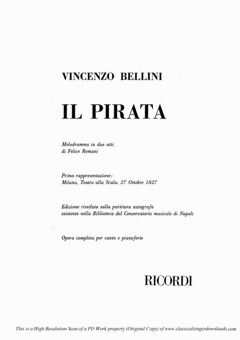 First Additional product image for - Grazie pietoso ciel. Recitative for Soprano (Imogene). V. Bellini: Il Pirata,  Vocal Score, Ed. Ricordi (PD). Italian
