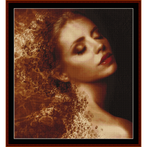 bronzed woman - fantasy cross stitch pattern by cross stitch collectibles