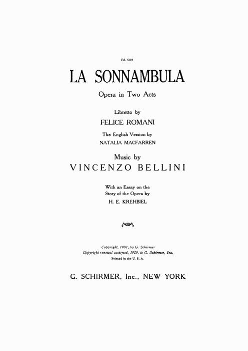 First Additional product image for - Tutto e gioia, tutto e festa. Aria for Soprano (Lisa). V. Bellini: La Sonnambula, Vocal Score, Ed. Schirmer (1902). Italian/English