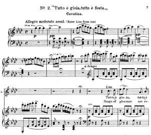 tutto e gioia, tutto e festa. aria for soprano (lisa). v. bellini: la sonnambula, vocal score, ed. schirmer (1902). italian/english