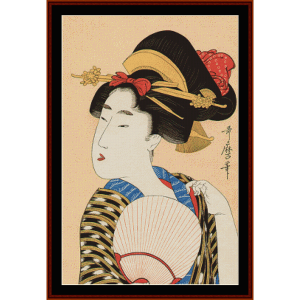 Bijin with a Fan - Asian Art cross stitch pattern by Cross Stitch Collectibles | Crafting | Cross-Stitch | Wall Hangings