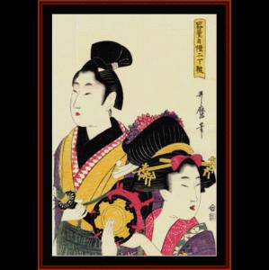 courtesan and samurai - asian art cross stitch pattern by cross stitch collectibles
