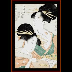 hanazuma and tsukioka - asian art cross stitch pattern by cross stitch collectibles