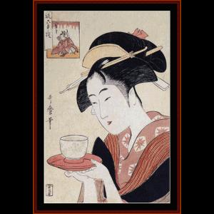 the waitress - asian art cross stitch pattern by cross stitch collectibles