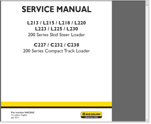 new holland 200 series compact track loader c227 c232 c238 service manual wiring diagrams