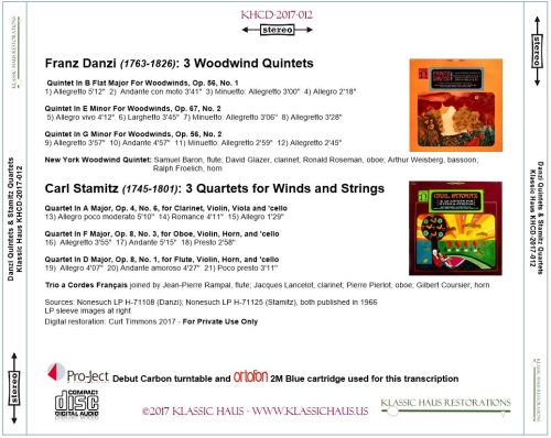First Additional product image for - Franz Danzi (1763-1826): 3 Woodwind Quintets; Carl Stamitz (1745-1801): 3 Quartets for Winds and Strings
