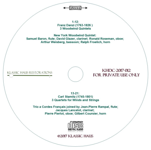 Second Additional product image for - Franz Danzi (1763-1826): 3 Woodwind Quintets; Carl Stamitz (1745-1801): 3 Quartets for Winds and Strings
