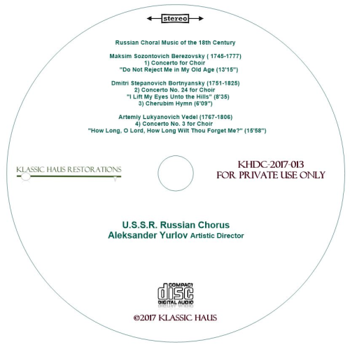 Second Additional product image for - Russian Choral Music of the 18th Century - U.S.S.R. Russian Chorus