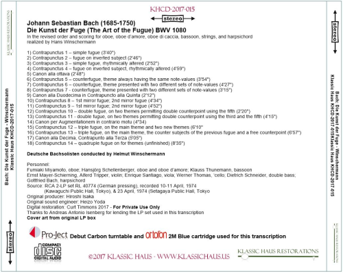 First Additional product image for - Johann Sebastian Bach: Die Kunst der Fuge (The Art of the Fugue) BWV 1080 - Winschermann