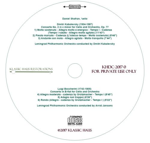 Second Additional product image for - Kabalevsky: Concerto No. 2 for Cello - Boccherini: Cello Concerto in B-flat - Daniel Shafran, 'cello
