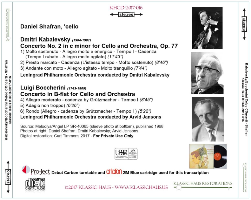 First Additional product image for - Kabalevsky: Concerto No. 2 for Cello - Boccherini: Cello Concerto in B-flat - Daniel Shafran, 'cello
