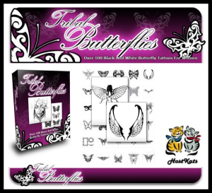 Tribal Butterflies - Over 100 Rare And Beautiful Black And White Tribal Butterfly Tattoos | eBooks | Other