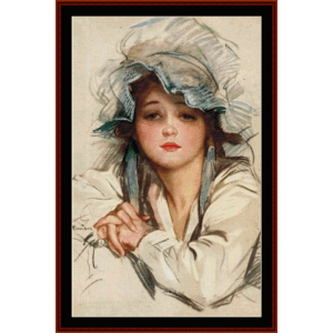 girl in blue bonnet - vintage art cross stitch pattern by cross stitch collectibles