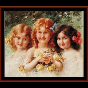 best friends - vintage art cross stitch pattern by cross stitch collectibles