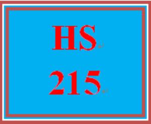 HS 215 Entire Course | eBooks | Education