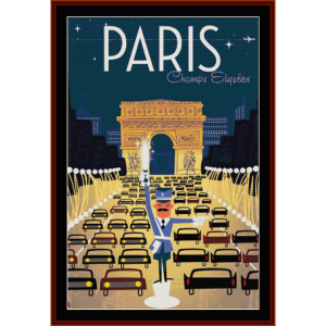 paris, champs elysees - vintage poster cross stitch pattern by cross stitch collectibles