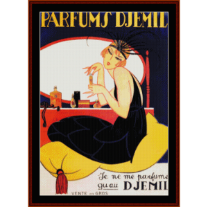 Parfums D'Jemil - Vintage Poster cross stitch pattern by Cross Stitch Collectibles | Crafting | Cross-Stitch | Wall Hangings