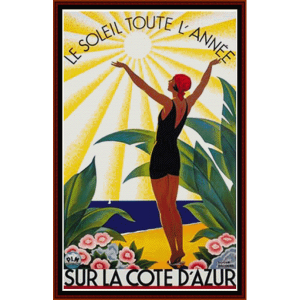 Sur La Cote D'Azur - Vintage Poster cross stitch pattern by Cross Stitch Collectibles | Crafting | Cross-Stitch | Wall Hangings