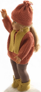 dollknittingpattern 0183d olefine - sweater, pants, cap, scarf and shoes-(english)