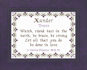 Name Blessings - Xander | Crafting | Cross-Stitch | Religious
