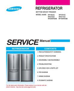 samsung rf18hfenbsr rf18hfenbww rf18hfenbbc refrigerator service manual