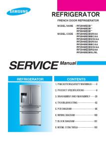 samsung rf25hmedbsr rf25hmedbbc rf25hmedbww refrigerator service manual