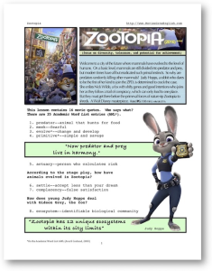 zootopia, whole-movie english (esl) lesson