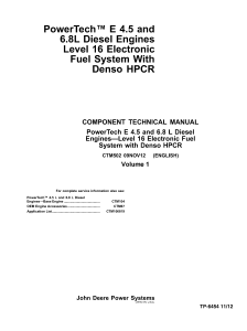 download john deere powertech e 4.5 and 6.8 l level 16 electronic fuel system with denso hpcr engine repair service technical manual ctm502