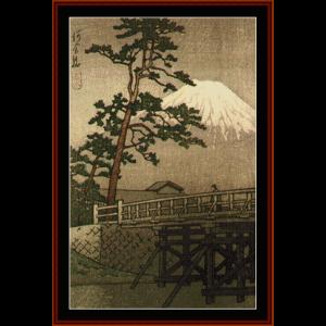 kawaii bridge - asian art cross stitch pattern by cross stitch collectibles