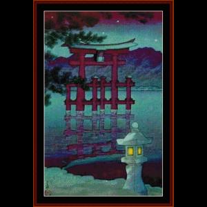 night shrine - asian art cross stitch pattern by cross stitch collectibles