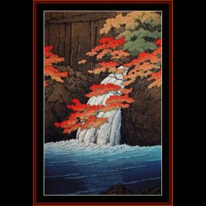 senju waterfall - asian art cross stitch pattern by cross stitch collectibles