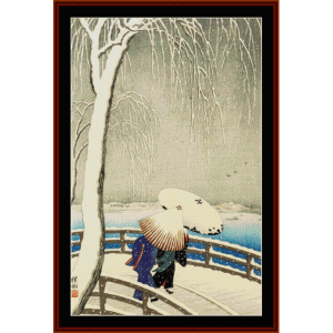 snow time at willow bridge - asian art cross stitch pattern by cross stitch collectibles