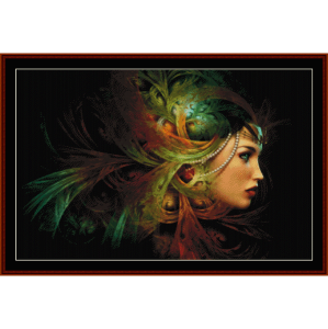 elegant headdress - fantasy cross stitch pattern by cross stitch collectibles