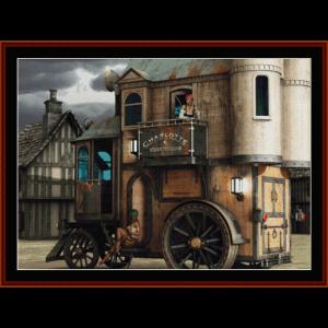 steampunk mobile bordello - fantasy cross stitch pattern by cross stitch collectibles