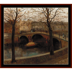 bridge over dutch canal - breitner cross stitch pattern by cross stitch collectibles