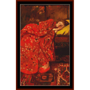 girl in red kimono - breitner cross stitch pattern by cross stitch collectibles