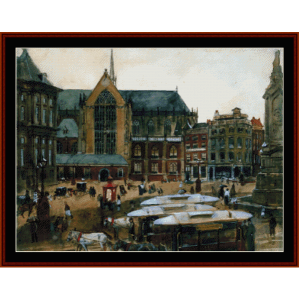 Dam in Amsterdam - Breitner cross stitch pattern by Cross Stitch Collectibles | Crafting | Cross-Stitch | Wall Hangings