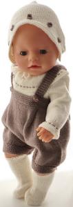 dollknittingpatterns 0186d fanny - romper, genser, skaut, skyggelue og sokker-(norsk)