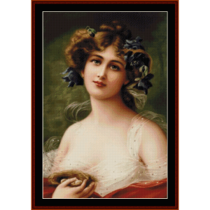 Woman with Bird's Nest - Vintage cross stitch pattern by Cross Stitch Collectibles | Crafting | Cross-Stitch | Wall Hangings