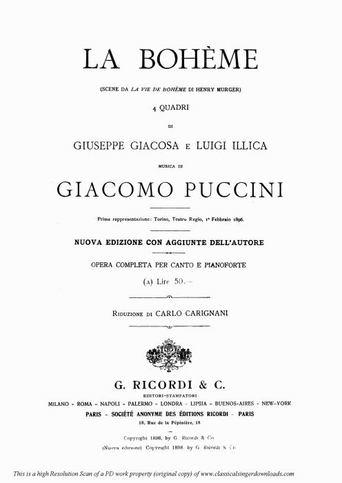 First Additional product image for - Donde lieta usci (Aria for Soprano. G. Puccini: La Bohème,  Vocal Score (Ricordi.1896), Italian.