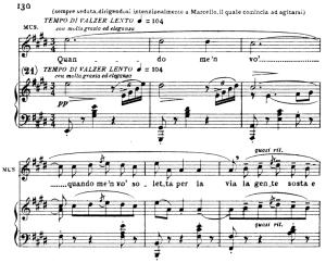 quando me'n vo, aria for soprano. g. puccini: la bohème, vocal score (ricordi.1896), italian.