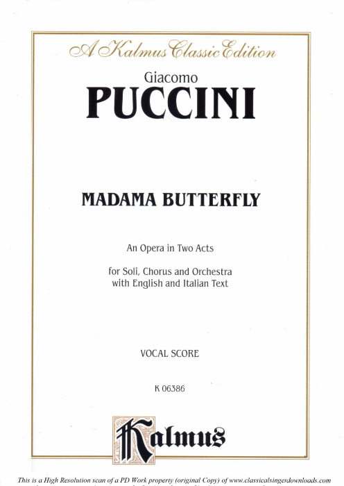 First Additional product image for - Un bel di vedremmo, Aria for Soprano. G. Puccini: Madame Butterfly, Vocal Score, Ed. Kalmus, Italian.